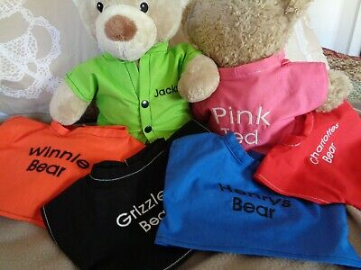 Personalised clothes to fit boys girls Build a bear 30cm teddy shirt 40cm length