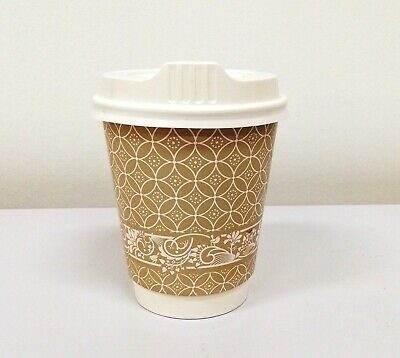 50sets Disposable Premium Coffee Cups 8oz Paper Double Wall - Free Postage