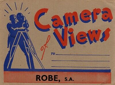 Postcard of Robe SA 8 view small photo fold out type with Caledonian Guest House