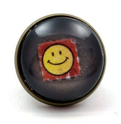 Smiley Face Lapel Pin LSD Blotter Art Psychedelic Trippy Festival Retro