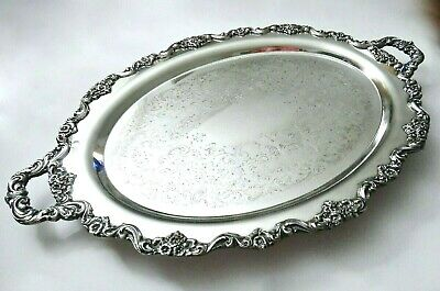 """Towle Grand Duchess Silver Plate Footed Huge Waiter Tray 30""""X20"""" Vintage Elegant"""