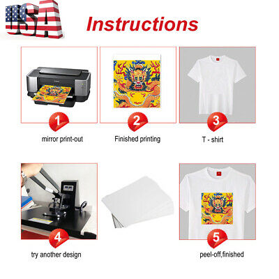 New 100 Sheets A4 Dye Sublimation Heat Transfer Paper Polyester Cotton T-Shirt