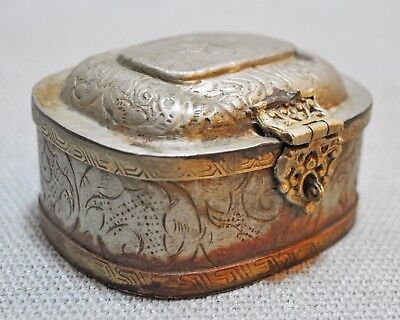 Original Old Vintage Engraved Brass Silver Plated Small Jewellery Box