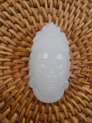 China handcarved white  jade Pendant necklace Guanyin Buddha head