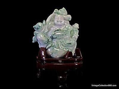 Large Smiling Buddha chinese Jade Statue carved in natural Jadeite Jade Grade A