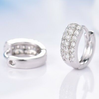 Silver Tone Gold Filled Smart White Sapphire Crystal Fashion Women Hoop Earrings