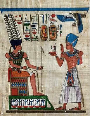 Real Egyptian Papyrus Hand Painted Art VTG Card- Ramses II Offering Maat to Amun