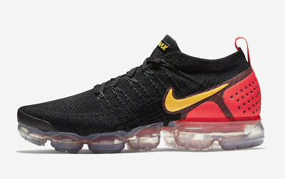 Nike Air Vapormax Flyknit 2 Black Laser Orange Size 10.5. 942842-005