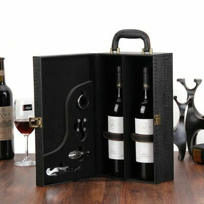 Wine Bottle Box Luxury Leather Bag 2 Red Wine Champagne Tote Carrier Travel Case