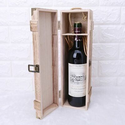 Retro Empty Single Bottle Red Wine Box Wood Storage Case Whiskey Box Carrier