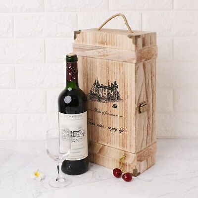 Vintage Wood 2 Red Wine Bottle Box Carrier Crate Case Storage Display Carrying