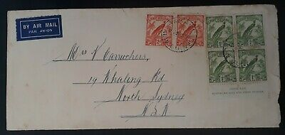VERY RARE c.1933 New Guinea Airmail Cover ties 6 stamps inc. Ash Imprint block