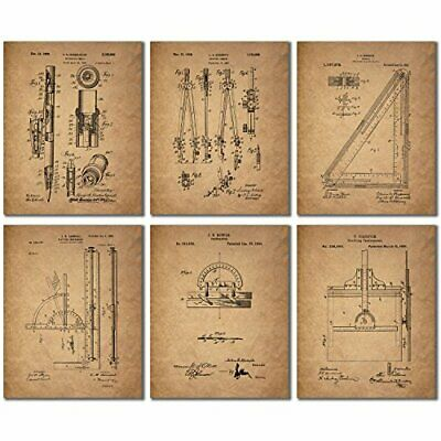 Architect Drafting Patent Prints - Set of Six 8x10 Drafting Wall Art Decor Photo