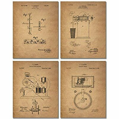 Stockbroker Patent Prints - Set of Four 8 x 10 Photos Banker Vintage Wall Decor