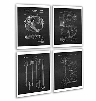 Vintage Drum Posters Set of 4 Unframed Patent Art Chalkboard Gift for Drummer 8x