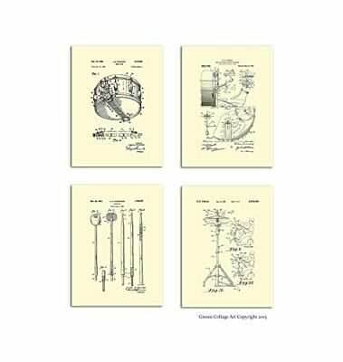 "Drumming Posters Set of 4 Unframed Patent Art Gift for Drummer 8x10"" Wall Decor"