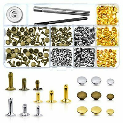 WXJ13 135 Sets 3 Sizes Single Cap Rivets Metal Leather Rivets with 3 Pieces Tool