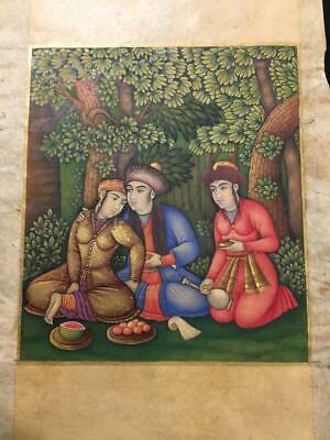 Antique Islamic 18th Century Persian Safavid Miniature Painting  with Gold Work