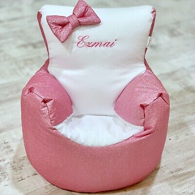 Childrens Kids Pre Filled Personalised Bean Bag Chair Seat Girls Glitter