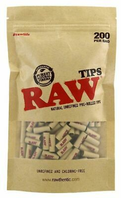 200 Rolling Tips Raw Natural Unrefined Pre-Rolled Paper Filter Roach Perfecto