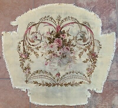 Antique 18C Aubusson French Hand Woven Silk Tapestry Chair Cover Panel