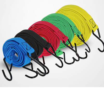 wholesale Solid color flat motorcycle bicycle luggage strap hook elastic rope