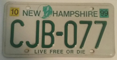 """New Hampshire License Plate CJB-077 """"Old Man in the Mountain / Live Free or Die"""""""