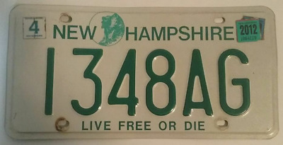 """New Hampshire Farm Plate # 1348AG """"Old Man in the Mountain / Live Free or Die"""""""