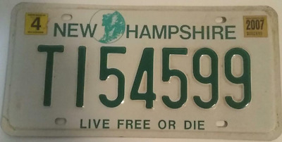"""New Hampshire Trailer Plate # T154599 """"Live Free Or Die"""" Old Man In The Mountain"""
