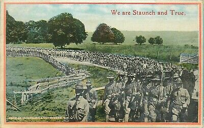 We Are Staunch And True WWI World War I Soldiers Marching US Army Postcard
