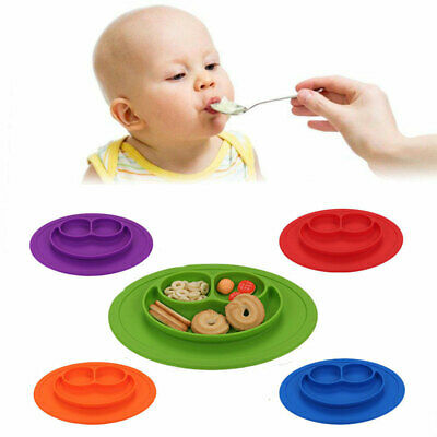 Cute Silicone Happy Mat Baby Kids Suction Table Food Tray Placemat Plate Bowl