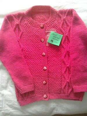 Hand-knitted  girls deep pink double knitting Cardigan  size 28 chest.