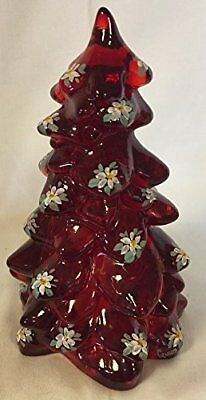 """Christmas Holiday Tree - Red Handpainted Glass - Mosser USA - Large 8"""""""