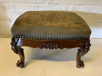 Antique 19th / 20th Century Footstool w/ Needlepoint Floral Upholstered Top