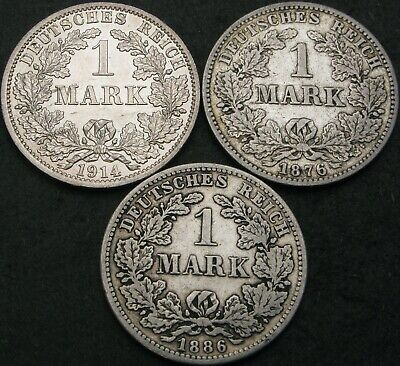 GERMANY (Empire) 1 Mark 1876C/1886D/1914A - Silver - 3 coins - 964 ¤