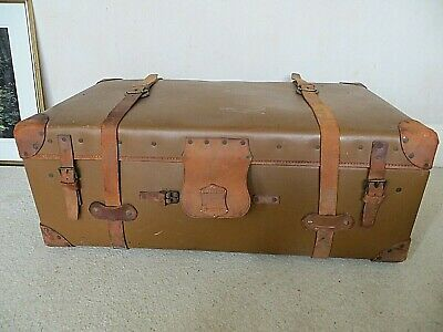Antique Victorian Pendragon Ex Large Leather Steamer Trunk Chest * Charity Sale*