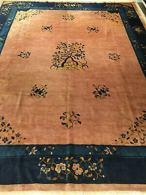 China alt  Art Deco Orientteppich 347x280 -tappeto vieux tapis old rug alfombra