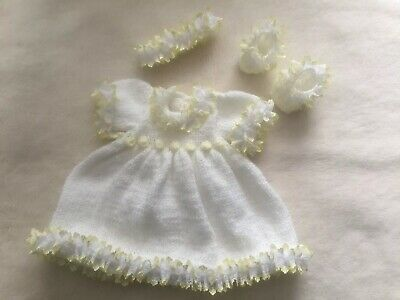 """Lemon And White Dress  Headband A Nd Shoes To Match  14"""" Chest"""