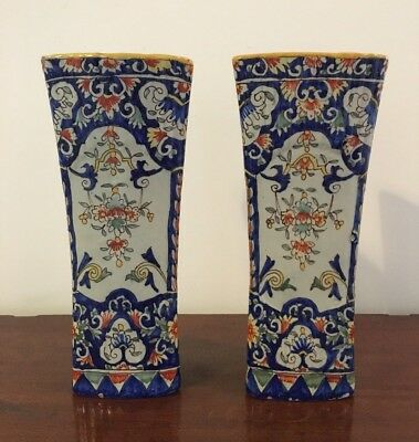 Beautiful Antique French Faience Vases ?lille ?rouen Pottery Floral Triangular