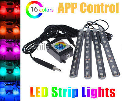 4 RGB Glow LED Interior Under Dash Footwell Accent Light USB Charger APP Control