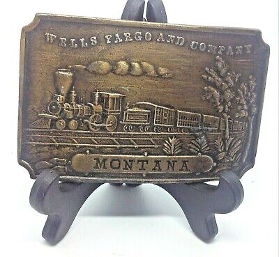 New York Wells Fargo & Company Montana Train Brass Belt Buckle	railroad RR