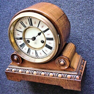 LARGE STRIKING 14-DAY DRUMHEAD MANTLE CLOCK good working order
