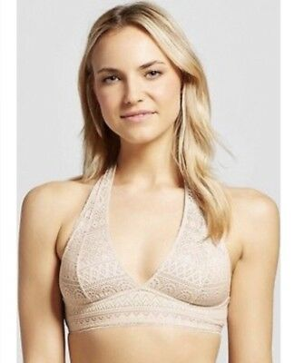 8140748686 XHILARATION WOMENS GEO Lace Halter Bralette Feather Peach Size Large ...