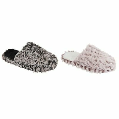 ea07674265c2 SLUMBERZZZ WOMENS LADIES FLUFFY Two-Toned Slip-On Slippers (SL587 ...
