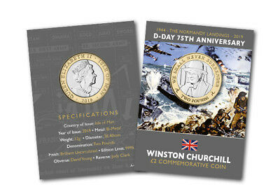D-Day Leader 'Churchill' £2 Two Pound Coin Brilliant Uncirculated Ltd Edition