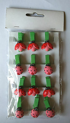 12 RED & GREEN WOODEN PEGS LADYBIRDS Mini Tag Notes CLIP string favours card ART