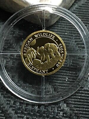 2017 SOMALIA GOLD ELEPHANT - 1/2 Gram 24k Coin in Capsule African Wildlife .9999