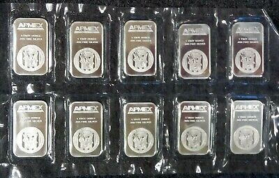 Ten (10) APMEX - 1 troy oz .999 Fine Silver Bullion Bars - Sealed