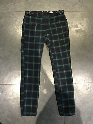 Zara Girls Green & Blue Check Stretch Trousers Adjustable Waist Size 11/12