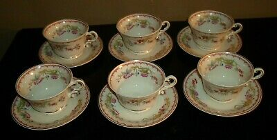 (6) Syracuse China Old Ivory BOMBAY Cups & Saucers
